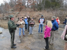 Participants at the First Day Hike with a ranger in the Osage Hills Parks provided by Oklahoma State Parks