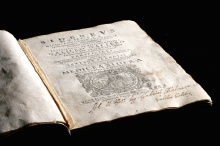 """Galileo Galilei, Sidereus nuncius (Venice, 1610; """"Starry Messenger""""). First published results of telescopic observations. Inscribed by Galileo. On display at Bizzell Memorial Library (Fall 2015) and the Fred Jones Jr. Museum of Art (Spring 2016)."""
